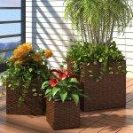 vidaXL 41082 Zahradní čtvercové ratanové květináče, set 3 ks, hnědé