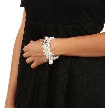 YooY Masivní perlový náramek s přívěsky bílá 93BZE26 bílá