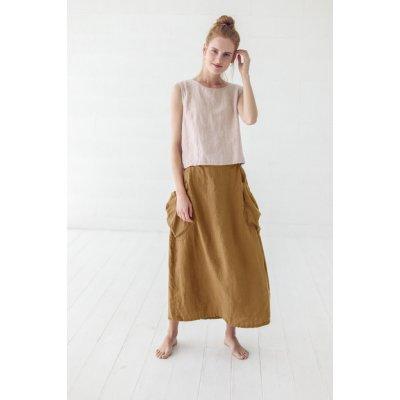YooY dlouhá sukně s velkými kapsami ze 100% lnu 533114
