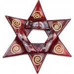 Vánoční skleněná ozdoba hvězda vínová 02 - spirálky