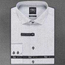 AMJ Pánská košile bílá s černými oválky VDP1030 df575000de
