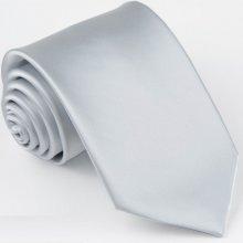 Greg Jednobarevná šedá pánská stříbrná kravata 99921