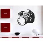 Dekorace stěny Samolepky na zeď - Fotoaparát, Stříbrná, 60 x 65 cm