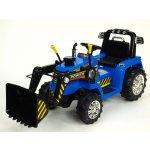 ChuChu Traktor s ovladatelnou lžící 12V mohutnými koly a konstrukcí zvukovými a světelnými efekty 2x náhon modrý