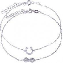 Náramek Klenota set dvou stříbrných podkova a symbol nekonečna LV14SB008c