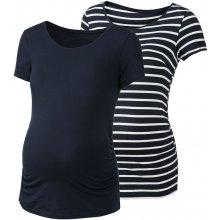 Esmara těhotenské triko Bio 2 kusy pruhy / tmavě modrá