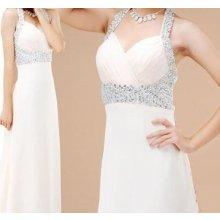 Ivory dlouhé svatební šaty s perličkama za krk