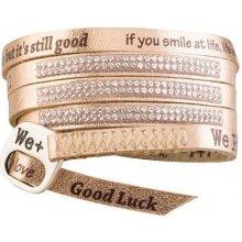 Náramek We Positive Wrap v barvě růžového zlata s nápisy a krystaly Swarovski Elements Rose Gold SW003