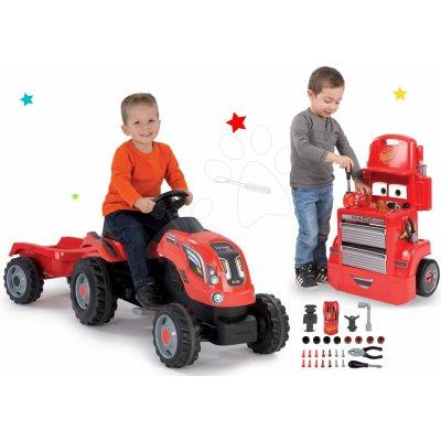 Smoby set traktor na šlapání Farmer XL Smoby s přívěsem a pracovní dílna vozík Auta Mack Truck