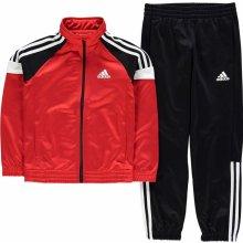 Adidas Tiberio Tracksuit Junior Boys Black Red Wht