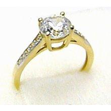 475612c41 Mohutný zásnubní zlatý prsten se zirkony 11ks H403