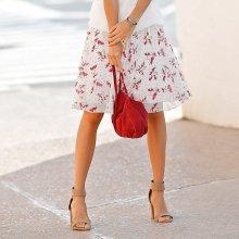 Blancheporte dámská rozšířená sukně s potiskem režná