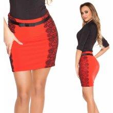 efbd2a17b450 Koucla sukně s krajkou a páskem červená
