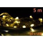 Vánoční LED osvětlení 5 m - teple bílé, 50 diod D00820