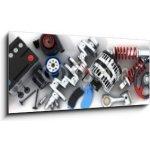 WEBLUX Obraz s hodinami 1D panorama - 120 x 50 cm - Car parts Autodíly