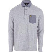 Lyle and Scott Mens LS Woven Collar Polo Shirt Light Grey