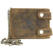 Born to be wild kožená peněženka se žralokem, se dvěma upínkami a 35 cm dlouhým kovovým řetězem a karabinkou