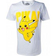 CurePink Pánské tričko Pokémon: Pikachu Raised Print bílé