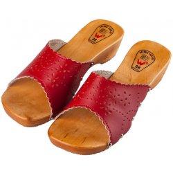 759b196844dd Dámská obuv Dřeváky elegance červená