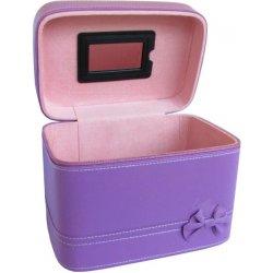 5971a2b72 Střední koženkový kufr se zrcátkem a mašlí fialový SKB4 - Norma ...