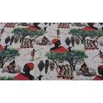 Designová dekorační látka AFRIKA zelená šíře 280 cm
