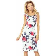 a5210003fc2 Numoco dámské společenské šaty s krátkým rukávem růžové květiny bílá