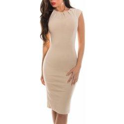 KouCla dámské pouzdrové šaty s krátkými rukávy béžová od 875 Kč ... 93fb4f1cfe