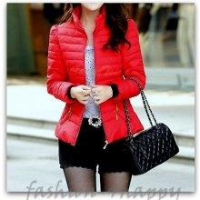 Zimní prošívaná bunda dámská krátká červená 77132-3