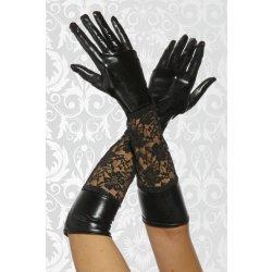 120fad331b4 Dámské černé dlouhé rukavice s krajkou vzhled kůže