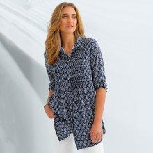 Blancheporte Dlouhá košile s potiskem a 3/4 rukávy indigo/bílá