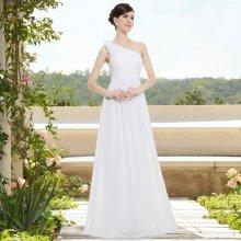 c19774c2cdc Dlouhé svatební šaty na jedno rameno jednoduché bílá
