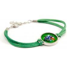 Murano náramek se skleněným medailonkem v chromu zelený Murrina 10002031102