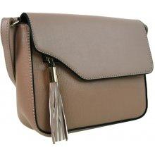Podélná crossbody kabelka s ozdobou F008 přírodní hnědá
