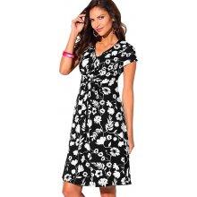 Blancheporte Šaty s potiskem květin květy černá/bílá