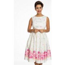 Lindy Bop dámské retro šaty Audrey Floral Border 50560619 smetanová 1d98f01a2e