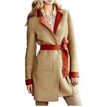 Heine BC vlněný oboustranný kabát béžová oranžová