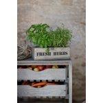 Garden Trading Dřevěný truhlík s květníčky Fresh herbs, hnědá