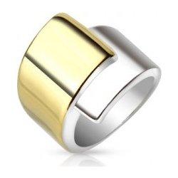 4f47a62d9 Ocelový prsten široká překrývající se ramena zlaté a stříbrné barvy M03.19