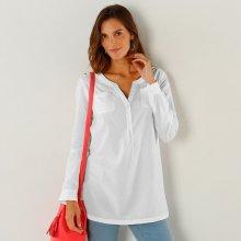 Blancheporte Jednobarevná tunika s tuniským výstřihem bílá