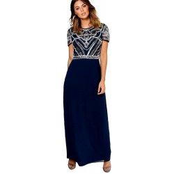 23f83df5e61 Boohoo luxusní společenské dlouhé šaty s topem zdobeným korálky modrá