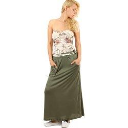 450402d57b Glara dlouhá jednobarevná maxi sukně zelená 323436 od 480 Kč - Heureka.cz