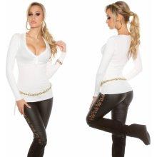 KouCla Dámský svetr s výstřihem do V bílý 1706eb062e
