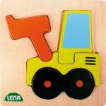 Lena Drevené puzzle traktor se naberacskou lžící
