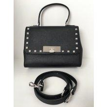 Michael Kors Callie Small Black Leather Messenger Satchel Stud