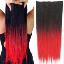 Clip in vlasy - 60 cm dlouhý pás vlasů - ombre styl 1B ČERVENÁ - f20447eae67