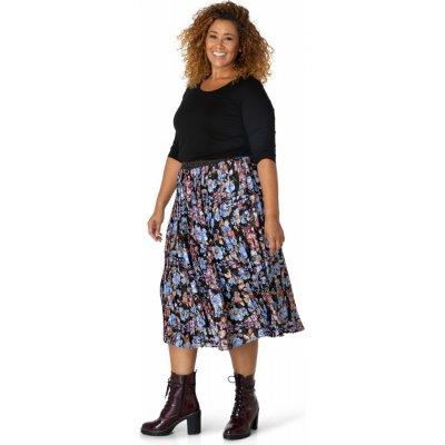 Dámská květovaná plisovaná midi sukně Yesta černo-modrá