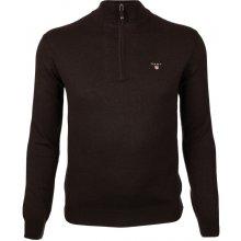 Gant Pánský svetr se zipem tmavě hnědý