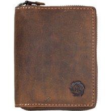 Kožená peněženka z přírodní pevné kůže bez nápisů a zanaček dokola na kovový zip