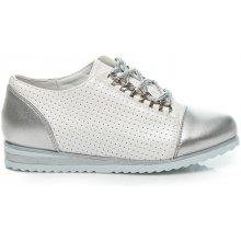 Dětské efektní kotníkové boty s vázáním na tkaničky H022S stříbrné