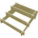zahradaXL Impregnovaný třípatrový dřevěný box na truhlíky 90 x 90 x 35 cm